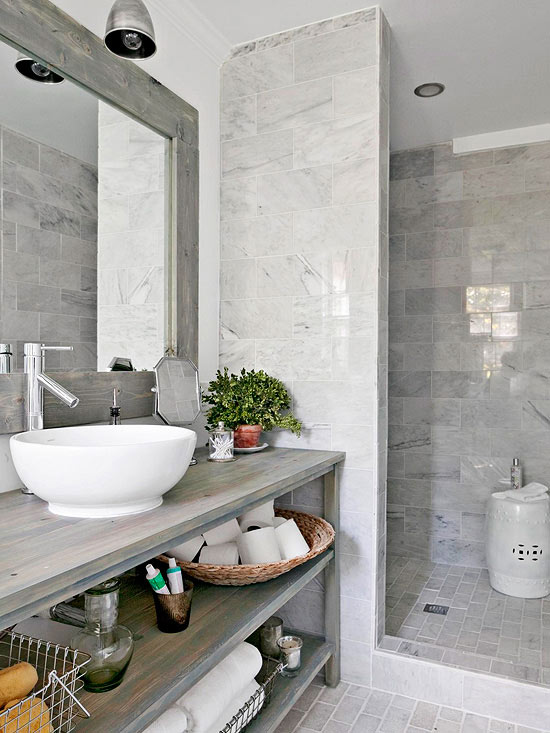Organizacion Baño Pequeno:White and Grey Bathroom Shower Tile Ideas