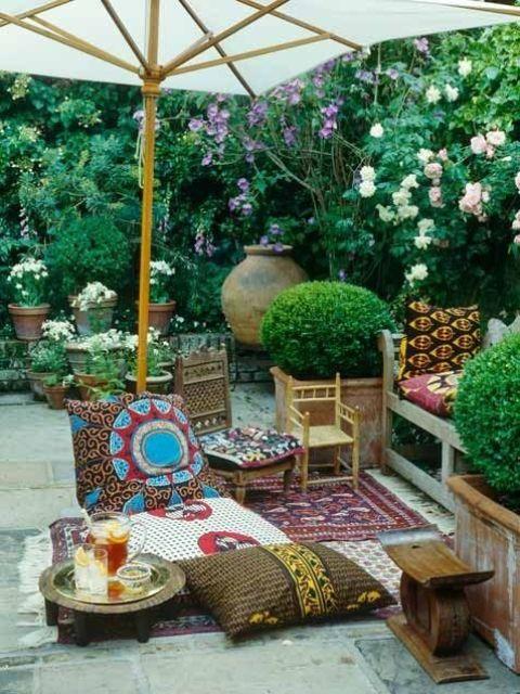 Porche estilo bohemio y marroqui 2