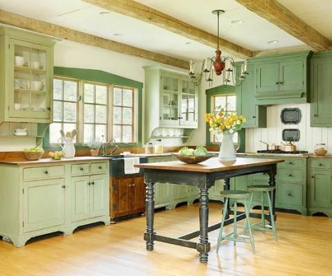 Cocinas en color verde pistacho for Colores para gabinetes de cocina