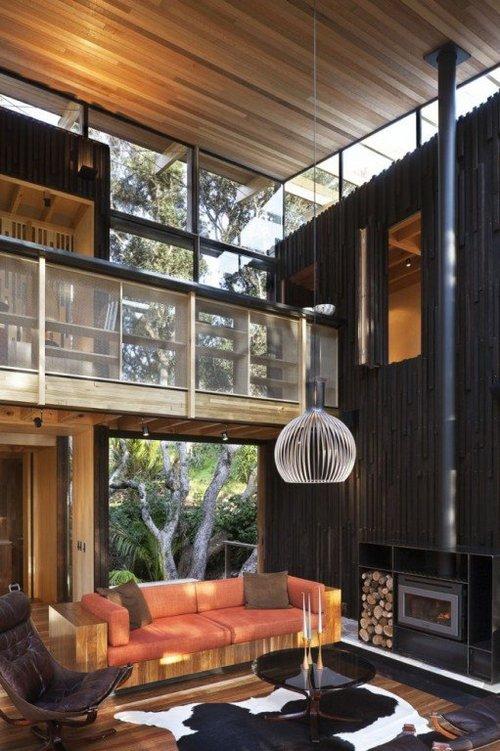 Una casa de madera natural en Nueva Zelanda