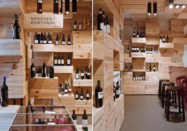 el estilo interior de una vinoteca en suiza