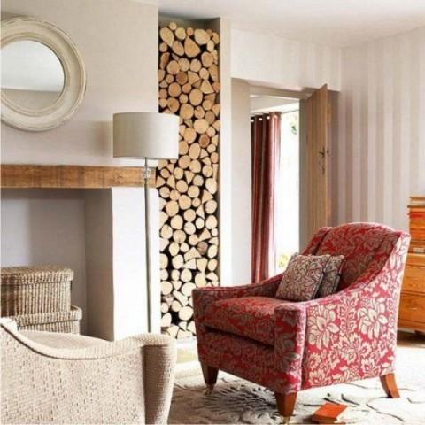 Muros y paredes con troncos naturales 1