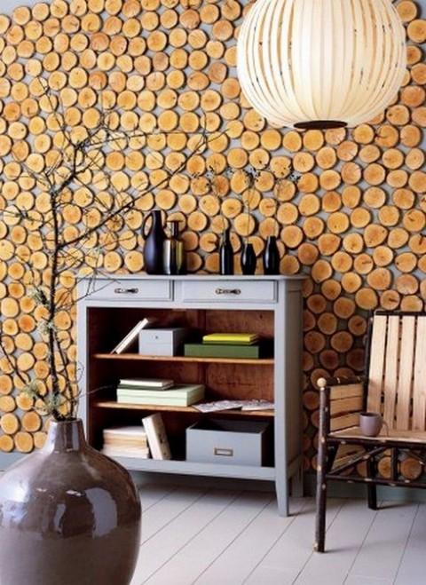 Muros y paredes decoradas con troncos de rbol - Decorar paredes con madera ...