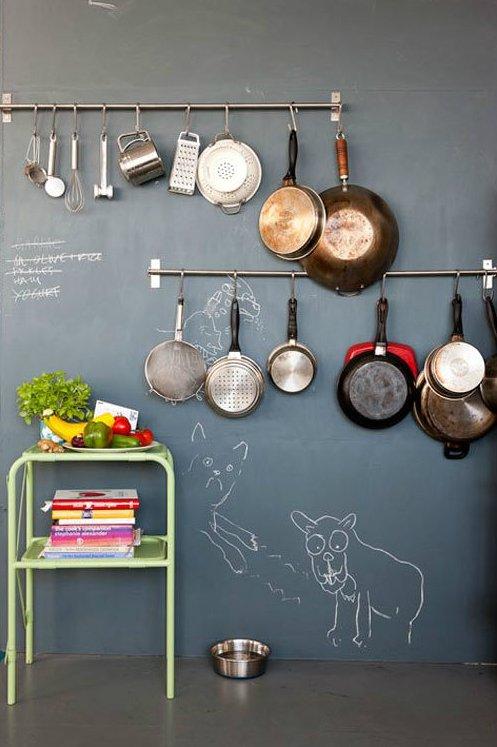 Decorar la cocina con ollas y sartenes