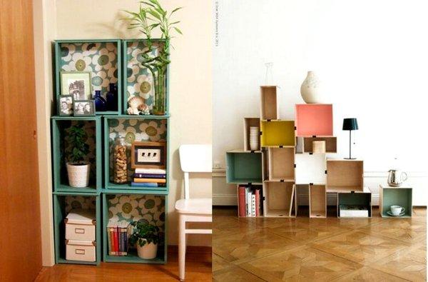 Ideas para decorar con cajas de madera for Decoracion de interiores reciclado