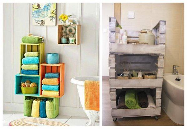 Ideas para decorar con cajas de madera for Articulos decoracion banos