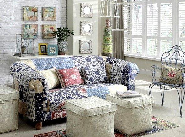 Sof s con estampado floral para el living - Telas rusticas para sofas ...