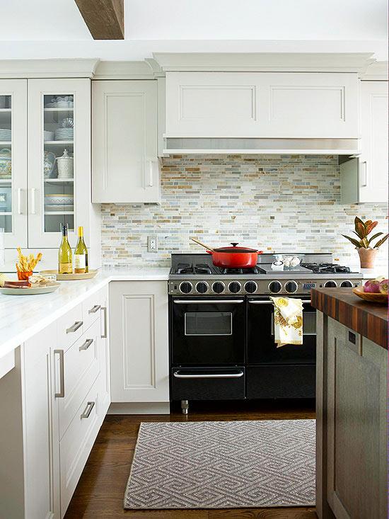 White Washed Tile Wood Kitchens