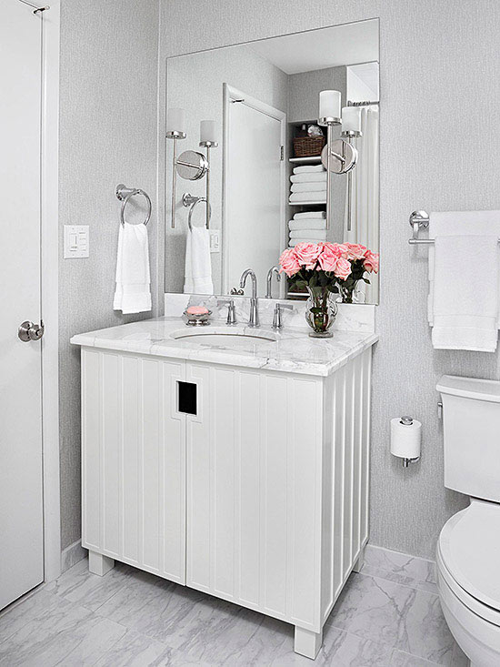 Tan And White Bathroom Decor