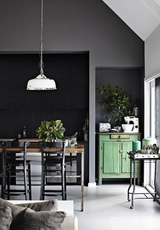 Ideas para decorar con paredes negras