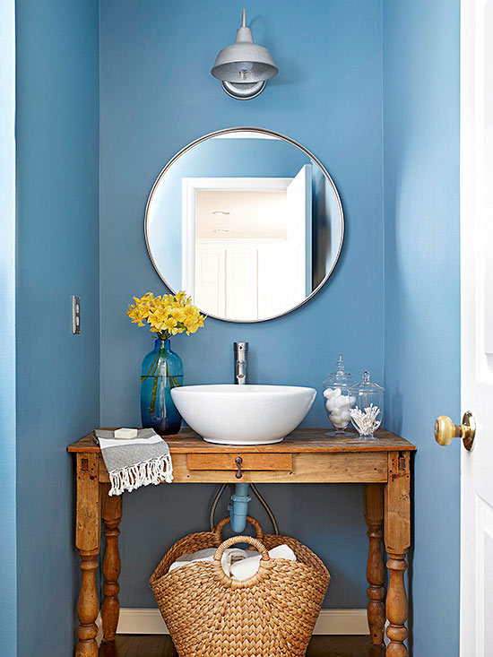 Baño Elegante Pequeno:Blue and Powder Room Vanity