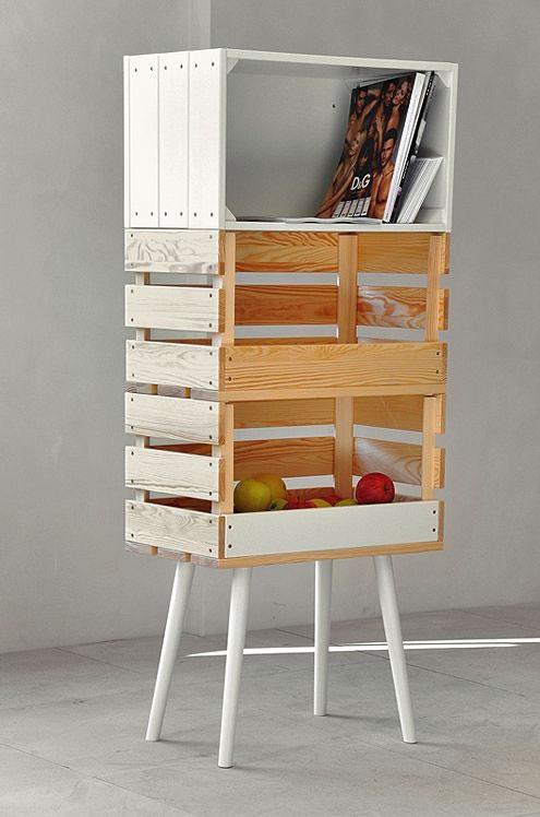 Ideas para decorar con cajas y cajones de madera for Estanterias con cajas de madera