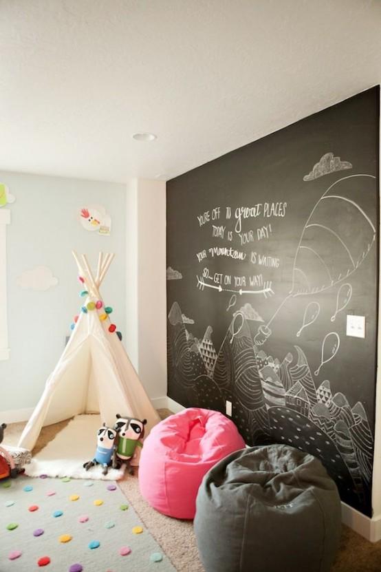 16 habitaciones infantiles decoradas con pintura pizarra - Pintura habitaciones infantiles ...