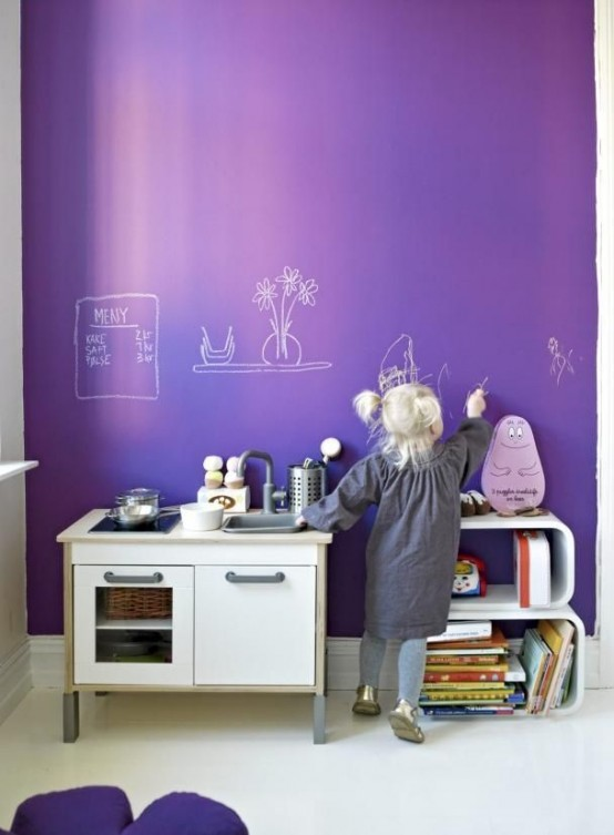 16 habitaciones infantiles decoradas con pintura pizarra - Pinturas habitaciones infantiles ...
