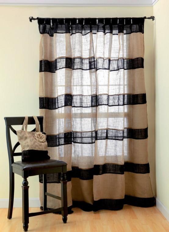 21 ideas para decorar tu hogar con tela de arpillera - Decorar paredes con telas ...
