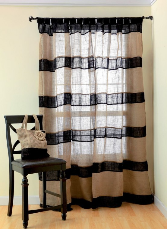 21 ideas para decorar tu hogar con tela de arpillera - Telas rusticas para cortinas ...