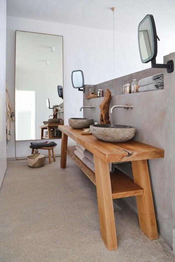 Lavabos Dobles Para Baño:de baño de estilo rústico como éste en cambio los dos lavabos de