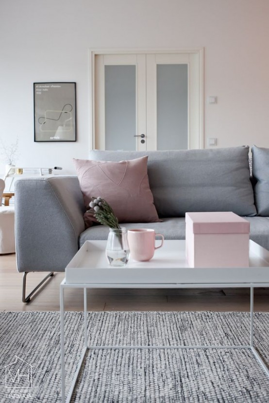 Pink Scandinavian Living Room