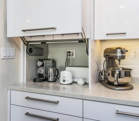 C mo organizar los peque os electrodom sticos en la cocina for Muebles de cocina con cortinas