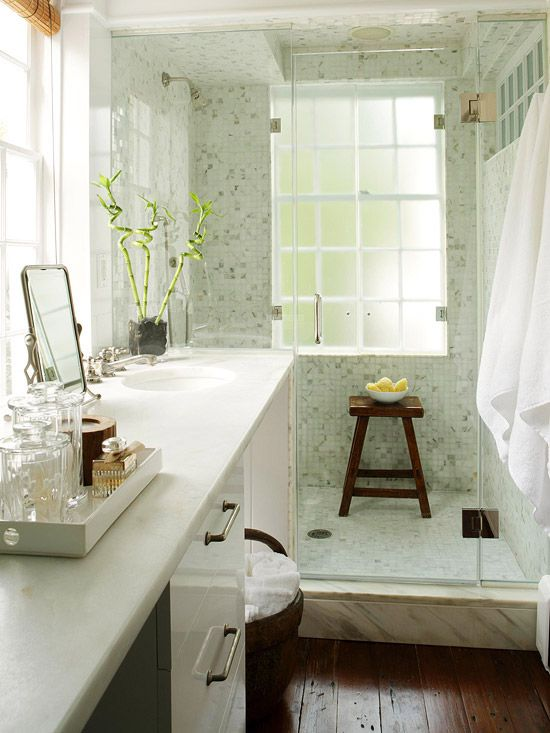 Baños Elegantes Pequenos:Small Bathroom Shower with Glass