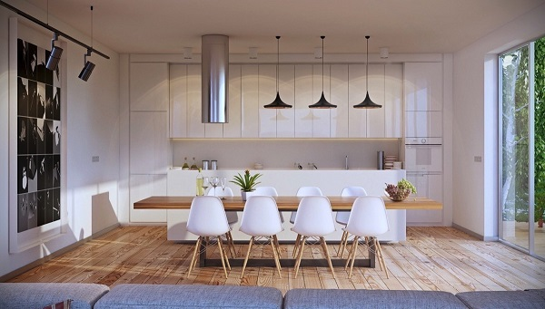 21 ideas para decorar el comedor en blanco y madera - Ideas para decorar salon comedor ...