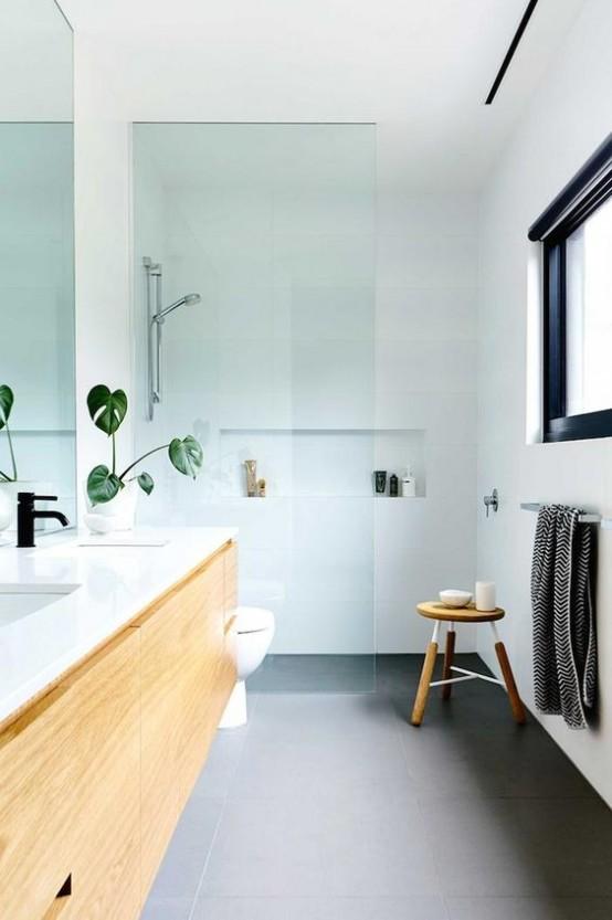 Cuartos de ba o estilo a os 50 for Accent color for gray and white bathroom