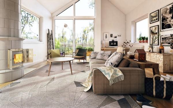 Ideas para una sala de estar de estilo n rdico for Idea sala de estar cuadrada