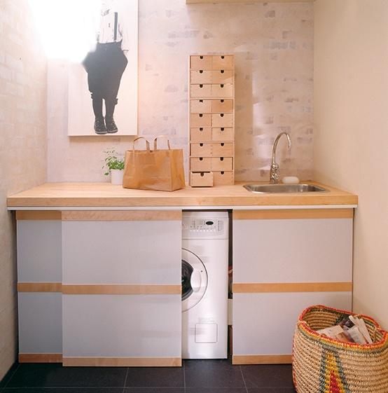 15 formas creativas de disimular la lavadora for Mueble para lavadora