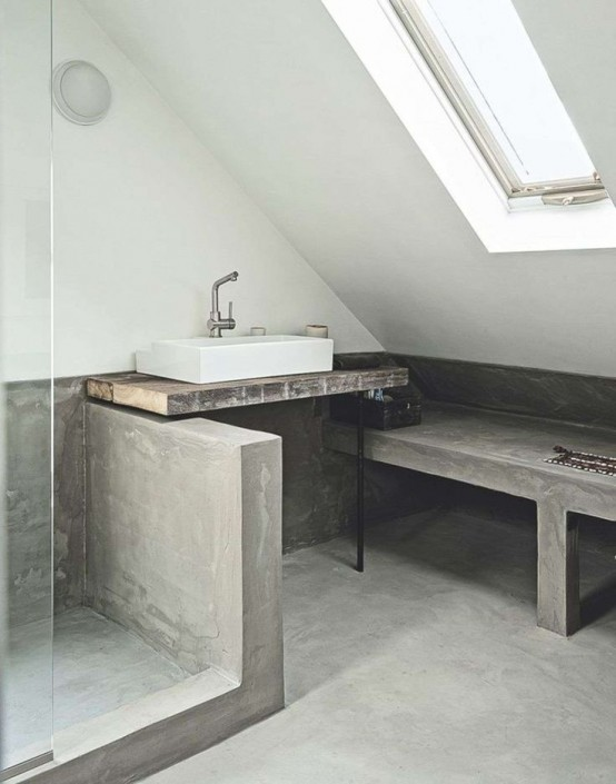 Mueble para fregadero de cemento - Pared cemento pulido ...