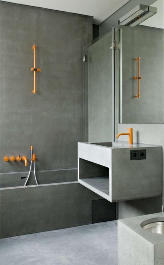 Ba os revestidos con cemento pulido - Hormigon pulido para interiores ...