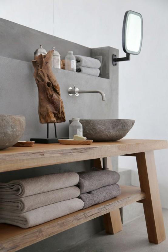 Baños revestidos con cemento pulido