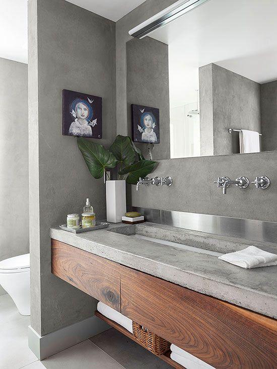 Baños Con Tina De Cemento:Concrete Countertop Bathroom Vanity Ideas