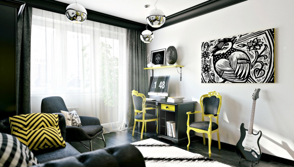 Habitaciones modernas para jóvenes creativos