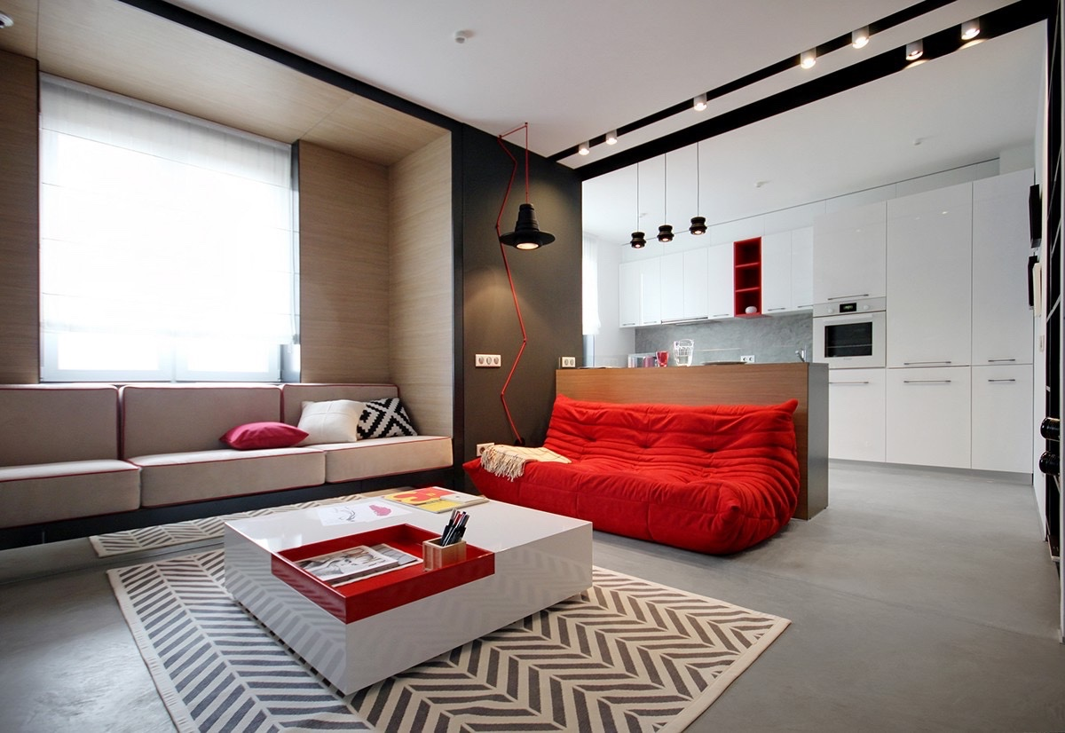 2 peque os apartamentos decorados en rojo y azul for Pintado de salas pequenas