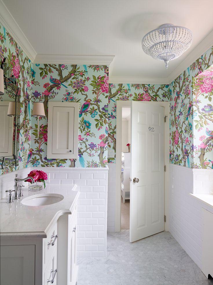 C mo decorar el ba o con papel pintado - Papel pintado para azulejos ...