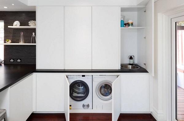 Lavander as para casas de estilo contempor neo for Muebles para lavanderia de casa