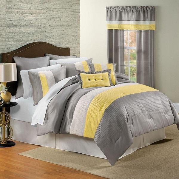 Renueva tu dormitorio con ropa de cama en amarillo y gris for Decoracion ropa de cama