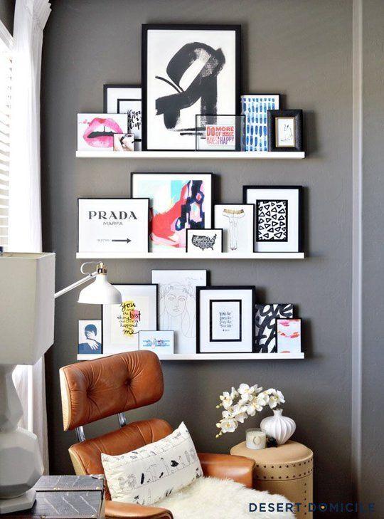 Ideas para decorar con estantes para cuadros for Ideas para organizar la sala