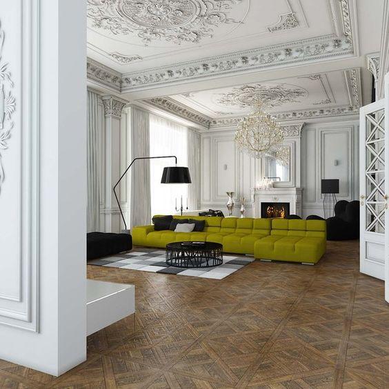 La belleza de los techos cl sicos en la decoraci n for Arredamento moderno con pezzi antichi