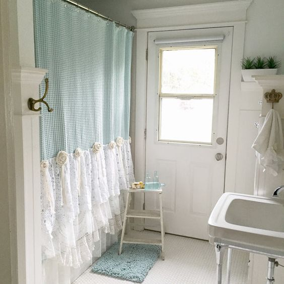 Decoracion Baño Shabby Chic:Blue Shabby Chic Shower Curtain