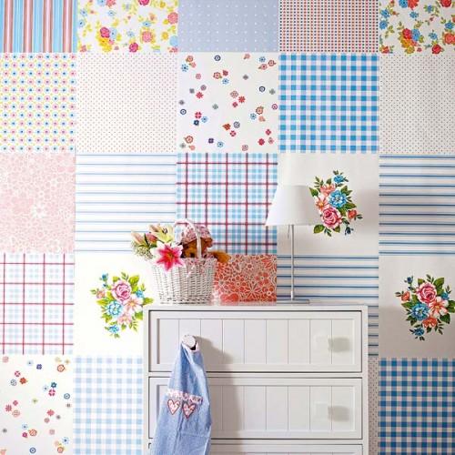Decora tus paredes con patchwork for Retales papel pintado