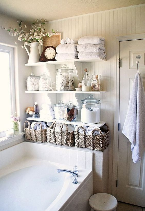 Armarios De Baño Colgados:Decorating Open Shelves Bathroom