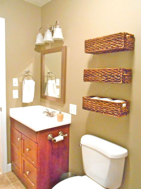 Estanterias Para El Baño:Wicker Wall Basket Bathroom Storage