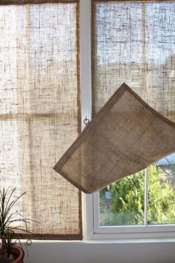 Ideas para decorar tu casa con tela de arpillera - Cortinas de arpillera ...