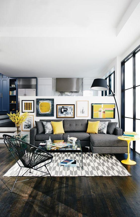 Ideas deco para una sala de estar en gris y amarillo