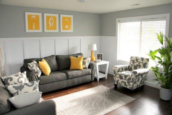 Ideas deco para una sala de estar en gris y amarillo for Decoracion de salas en gris y amarillo