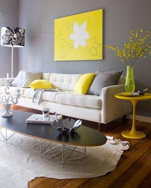 Ideas deco para una sala de estar en gris y amarillo for Desarrollar una gran sala de estar