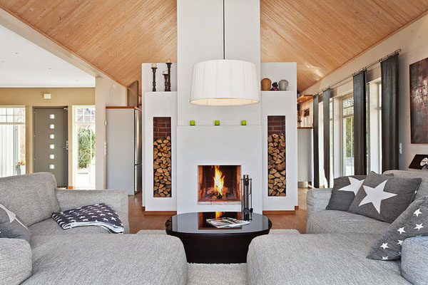 Modern Scandinavian Fireplace: Cálidas Y Acogedoras Salas De Estar De Estilo Nórdico