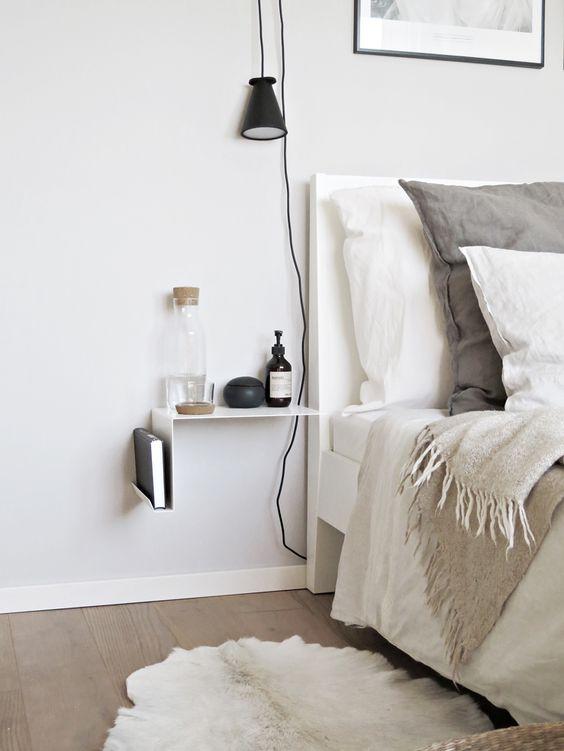 Mesillas de noche para habitaciones peque as - Mesitas de noche de pared ...