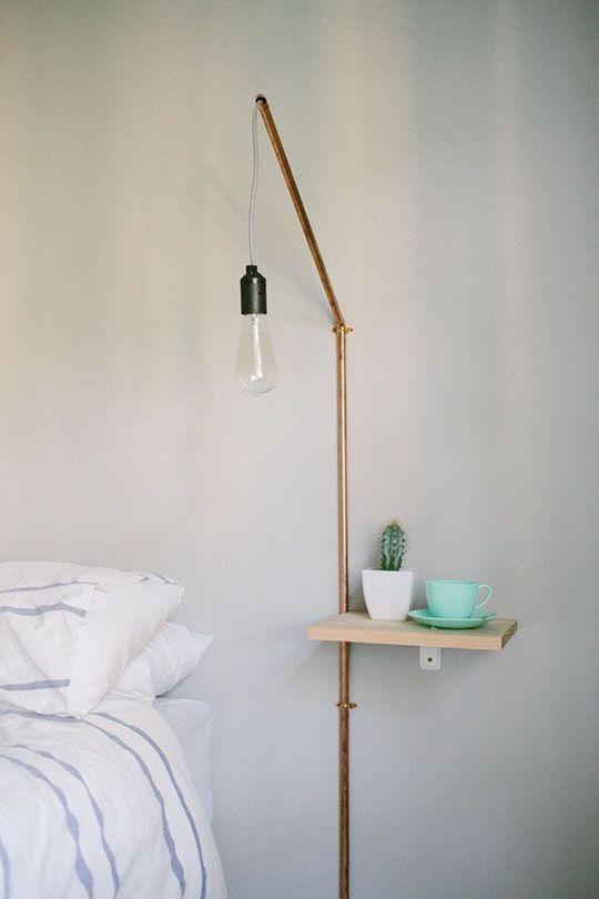 Lámpara Y Mesilla De Noche De Aire Industrial Y Minimalista. Es Un Proyecto  DIY Fácil De Llevar A Cabo Y Que Quedará Muy Bien En Un Dormitorio De  Estilo ...